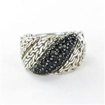 John Hardy Classic Chain Flat Twisted Black Sapphire Ring 13mm Sterling New $495