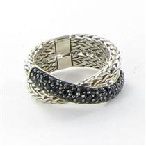 John Hardy Classic Chain Overlap Ring Black Sapphires Sterling 925 Sz 7 New $795