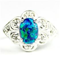 Created Blue/Green Opal, 925 Sterling Silver ladies Ring, SR125