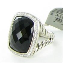 David Yurman Albion Black Onyx Diamond 0.39ct Ring Split Sterling Sz 7 NWT $1950