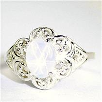 Created White Star Sapphire, 925 Sterling Silver Ladies Ring, SR125