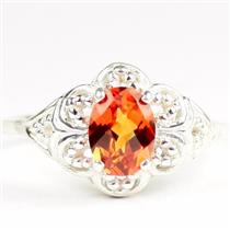 Created Padparadscha Sapphire, 925 Sterling Silver Ladies Ring, SR125