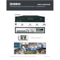 Uniden PRO3600N8-4K Pro Security System 4K NVR 36-Channel 16x PoE w/ 8TB HDD