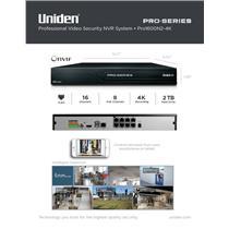 Uniden PRO1600N2-4K Pro Series Security System 4K NVR 16-Channel 8x PoE w/ 2TB