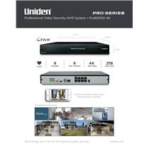 Uniden PRO800N2-4K Pro Series Security System 4K NVR 8-Channel PoE w/ 2TB HDD