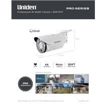 Uniden Pro Series 4K IP Tamperproof Moto-Varifocal Bullet Camera 4KB-MVF