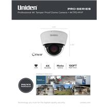 Uniden Pro Series 4K IP Tamperproof Moto-Varifocal Dome Camera 4KTPD-MVF