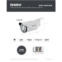 Uniden Pro Series 2.0-Megapixel IP Tamperproof Varifocal Bullet Camera 2MB-VF