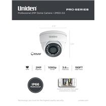 Uniden Pro Series 2.0-Megapixel IP Tamperproof Fixed Dome Camera 2MED-3.6