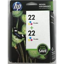 Twin Pack HP Tri Color 22 Ink Cartridge for Deskjet OfficeJet CC580FN