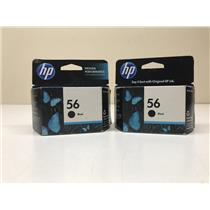 Lot of 2 HP 56 Black Toner Cartridge C6656AN 520 pg Yield Sealed Expired