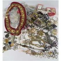 Large Lot of Costume Jewelry Necklaces Rings Earrings Bracelets Gold/Silver-Tone