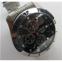 Seiko 4T57-00A0 Chronograph 100M Stainless Steel Mens Watch W/ NEW BATTERY