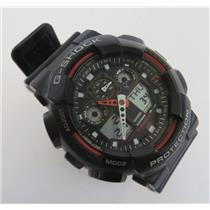 Casio 5081 GA-100 G-Shock Black & Red Men's Analog / Digital 20BAR Wrist Watch