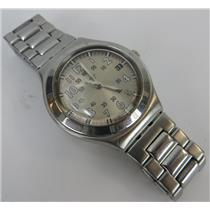 Swatch Watch Irony Silver-Tone Stainless Steel Band Unisex Watch W/ Tan Dial