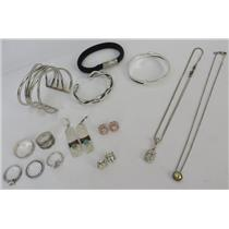 Lot Of Silver 925 Jewelry - Earrings - Rings - Necklaces - Bracelets - 154.63g