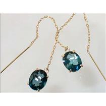 E103, London Blue Topaz, 14k Gold Earrings