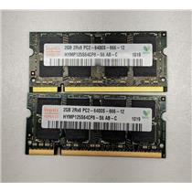 Lot of 2 Hynix 2GB PC2-6400 DDR2-800 non-ECC Unbuffered 1.8V HYMP125S64CP8-S6