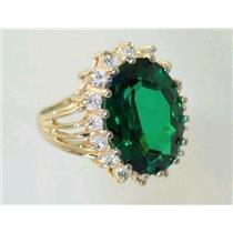 R270, Emerald Green Lab Spinel, Gold Ring