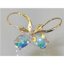 E007, Mercury Mist Topaz, 14k Gold Earrings