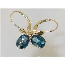 E007, London Blue Topaz, 14k Gold Earrings