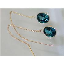 E105, London Blue Topaz, 14k Gold Threader Earrings