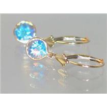 E011, Mercury Mist Topaz, 14k Gold Earrings