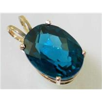 P080, London Blue Topaz 14k Gold Pendant