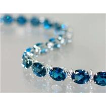 SB002, London Blue Topaz, 925 Sterling Silver Bracelet