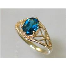 R137, London Blue Topaz, Gold Ring