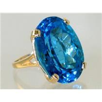 R129, Swiss Blue Topaz, Gold Ring
