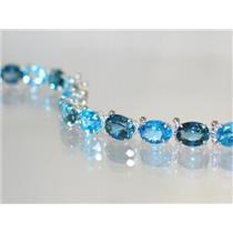 SB002, London & Swiss Blue Topaz SS Bracelet