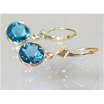 E111, London Blue Topaz, 14k Gold Earrings