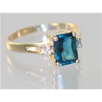 R171, London Blue Topaz, Gold Ring