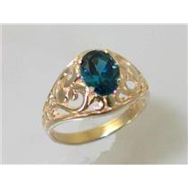 R111, London Blue Topaz, Gold Ring