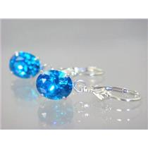 Swiss Blue CZ, 925 Sterling Silver Earrings, SE107
