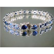 SB001, Created Blue Sapphire, 925 Silver Bracelet