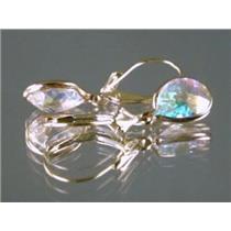 E121, Mercury Mist Topaz, 14k Gold Earrings