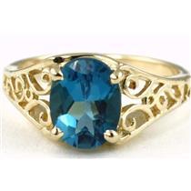 R005, London Blue Topaz, Gold Ring