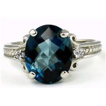 SR136, London Blue Topaz, 925 Sterling Silver Ring