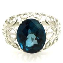 SR162, London Blue Topaz, 925 Sterling Silver Ring