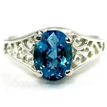 SR305, Swiss Blue Topaz 925 Sterling Silver Ring