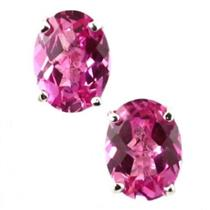 925 Sterling Silver Post Earrings, Created Pink Sapphire, SE002