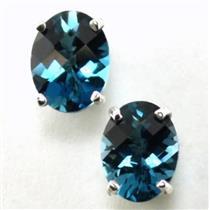 925 Sterling Silver Post Earrings, London Blue Topaz, SE002