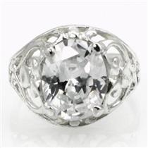 SR004, Cubic Zirconia, 925 Sterling Silver Ring
