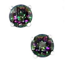 925 Sterling Silver Post Earrings, Mystic Fire Topaz, SE012