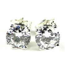 925 Sterling Silver Post Earrings, Cubic Zirconia, SE012