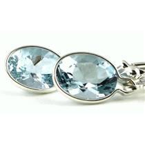 925 Sterling Silver Leverback Earrings, Aquamarine, SE001