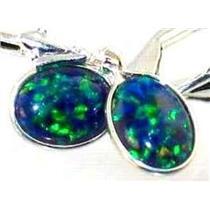 925 Sterling Silver Leverback Earrings, Created Blue/Green Opal SE001