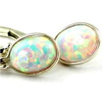 925 Sterling Silver Leverback Earrings, Created White Opal, SE001
